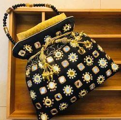 Raw Silk Mirror Handwork Potli Bag