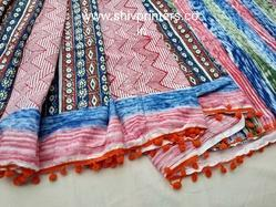 Hand Block Printed Cotton Saree with Pompom Lace