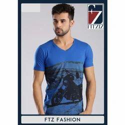 Mens Printed Cotton V Neck T-Shirt