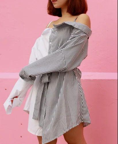 9ad0e91b2d82 Medium And Large White Off Shoulder Shirt Dress