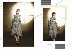 Black And White Striped Printed Designer Kurti