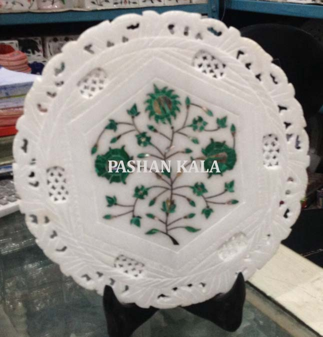 White Marble Stone Inlay Plate, Shape: Round, Standard