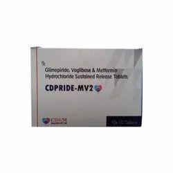 Cdpride-Mv2 Glimepiride 2mg , Voglibose 0.2 Mg & Metformin 500 Mg (Sr) Tab