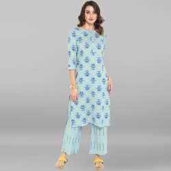 Sky Blue Pure Cotton Kurta With Palazzo