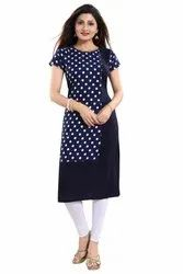 Women Printed Crepe Straight Kurta