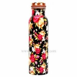 Black Floral Meenakari Leak Proof Pure Copper Bottle