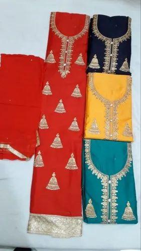 Regular Unstitched Ladies Assorted Cotton Suit, Machine wash
