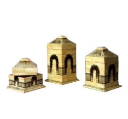 Brown, Off-white Collectors Corner Camel Bone Painted House Boxes