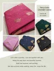 Festive Wear Printed Chanderi Silk Saree, 6.5 m