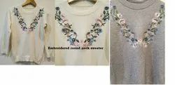 white and grey Women Embroidered Pullover Sweater