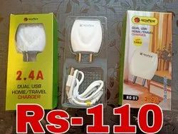 White Travel Roxxer 2.4 amp charger with cable