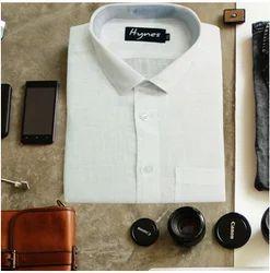 Mens Solid Formal Linen White Shirt