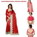 Handmade Party Wear Fancy Net Saree, Length: 6.3 M Separate Blouse Piece