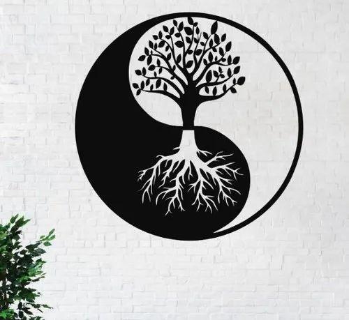 India Black Metal Wall Art Tree