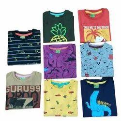 Casual Wear Round Kids Boy Printed Cotton T Shirts, Size: 2-6 Year
