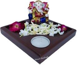 Metal Ganesh Candle Flower Set, Home Decorative Ganesha Candle Try With Flower Set