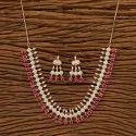 Ruby Rose Gold Handmade Necklace Set With Elegant Look 401175