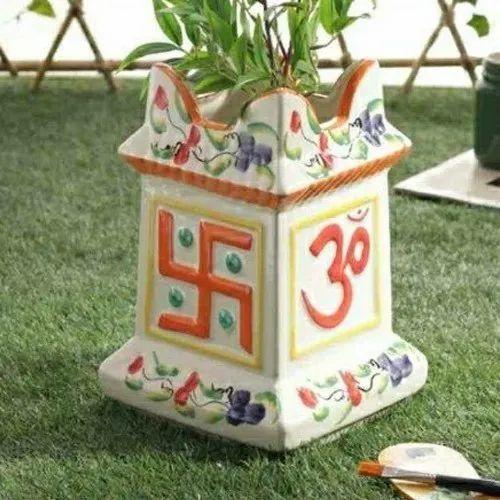 Multicolor Ceramic Tulsi Pot