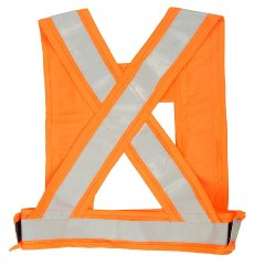 Orange Work Wear Polyester Reflective Cross Belt