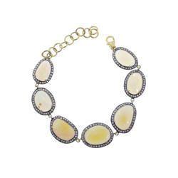 Rose Cut Diamond Opal Bracelet