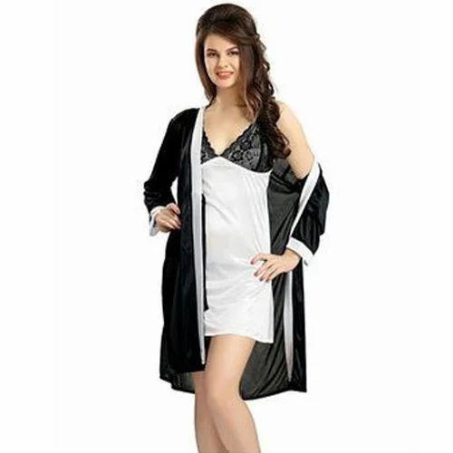 5a68854177 Satin Black Ladies Night Dress