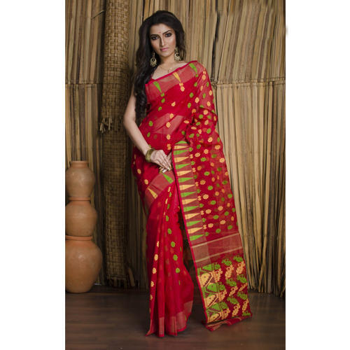 ae75175c63 Beautiful Dhakai Jamdani Cotton Saree in Red at Rs 2700 /piece ...