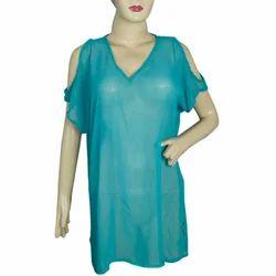 Georgette V-neck Ladies Shoulder Cut Top, Sky Blue