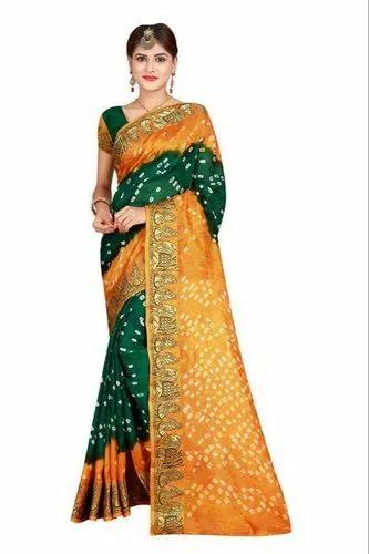 Art Silk Original Bandhani Saree