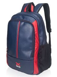 Navy Blue PU Synthetic Leather Laptop Backpack Bag