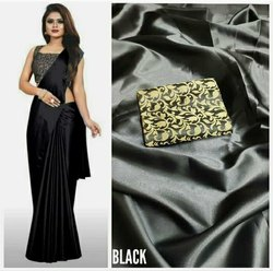 Kanchan Textiles Party Wear Ladies Black Satin Silk Saree, 6.3 m (with blouse piece)
