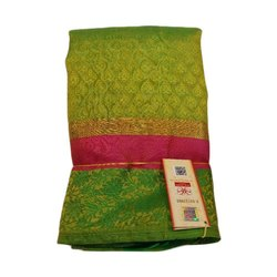 Party wear SLS Ladies Banarasi Cotton Saree, Machine wash
