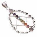 Multicolor Stones Chakra 925 Sterling Silver Pendant