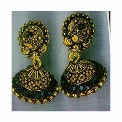Green Jhumka Earrings