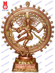 Natraj Dancing Double Ring On Sq.Base Statue