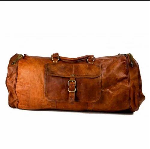 bc9d9cc4c66e Real Vintage Leather 24 Inch Brown Duffle Cum Gym Bag