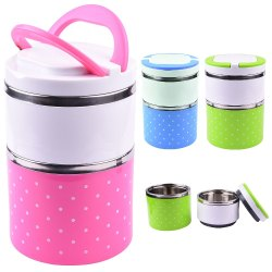 Stainless Steel Lunch Box Two Layer for Home and Office
