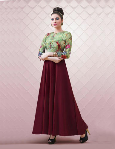 7c9b58bab2 Printed Gown - New Amazing Green Georgette Anarkali Style Gown ...