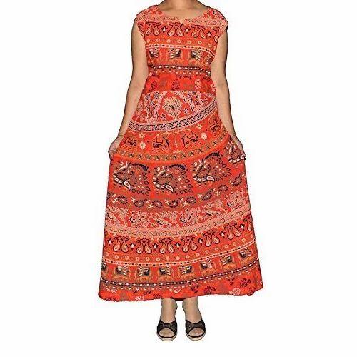 eecbf9aac69 Cotton Traditional Full Length Jaipuri Maxi Frock Dress