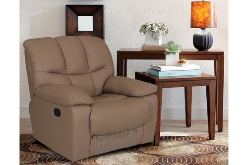 Exotica 1 Seater Taupe Color Leatherite Recliner Sofa