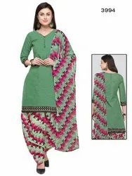 Rajnandini Green Cotton Printed Unstitched Dress Material
