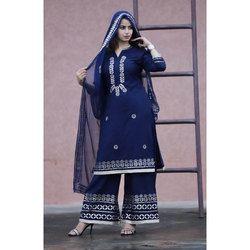 Ladies Blue Stitched Cotton Kurti
