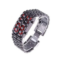 Rectangular Stainless Steel Strap LED Digital Watch