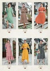 3/4th Sleeve Designer Embroidered Long Kurti With Freel