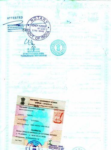 Birth Certificate Apostille for Mexico in Delhi, Evidence