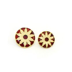 Brass Round Meenakari Buttons, For Garments, Packaging Type: Box