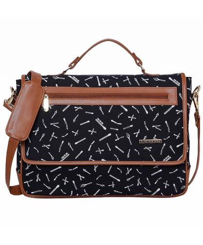 6d9c1c139184 Cotton Canvas And Faux Leather Printed Funk For Hire Flap Closure Laptop Sling  Bag