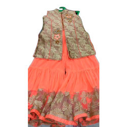 Peach And Beige Kids Girls Stylish Indo Western Dress