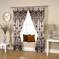 Abstract Flowery Weave Coffee Curtain