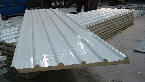 Puf White Corrugated Roofing Sheet Thickness Of Sheet 20 100 Mm Rs 69 Kilogram Id 15703753330
