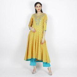 Embroidered Dobby Low Cut Kurti